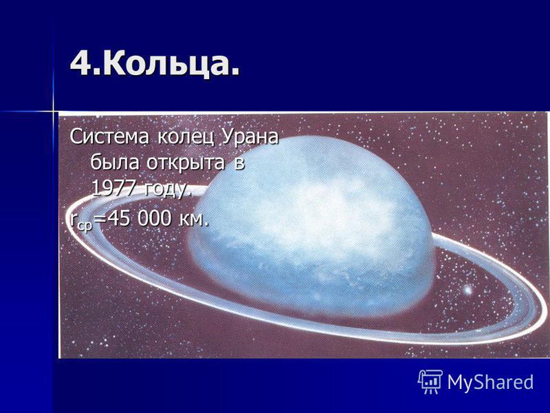 4.Кольца. Система колец Урана была открыта в 1977 году. r ср =45 000 км.
