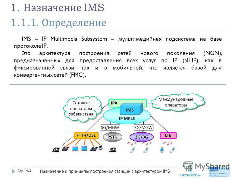 1.1.1. Определение Стр. 4 1. Назначение IMS IMS – IP Multimedia Subsystem – мультимедийная подсистема на базе протокола IP. Это архитектура построения сетей нового поколения (NGN), предназначенных для предоставления всех услуг по IP (all-IP), как в ф