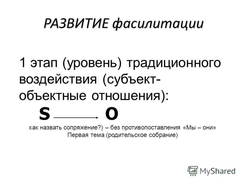 РАЗВИТИЕ фасилитации 1 этап (уровень) традиционного воздействия (субъект- объектные отношения): S O как назвать сопряжение?) – без противопоставления «Мы – они» Первая тема (родительское собрание)