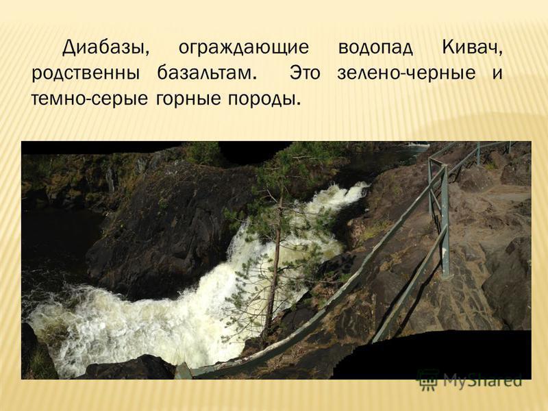 Диабазы, ограждающие водопад Кивач, родственны базальтам. Это зелено-черные и темно-серые горные породы.