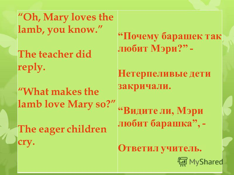 Oh, Mary loves the lamb, you know. The teacher did reply. What makes the lamb love Mary so? The eager children cry. Почему барашек так любит Мэри ? - Нетерпеливые дети закричали. Видите ли, Мэри любит барашка, - Ответил учитель.