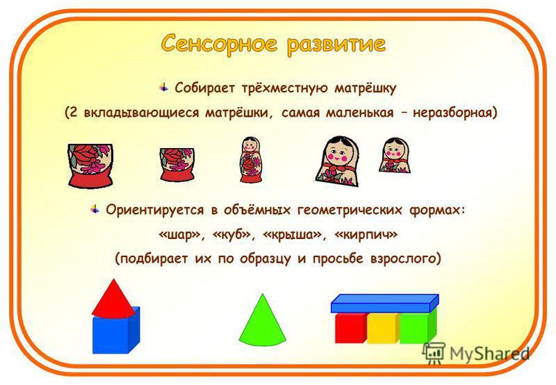 Собирает трёхместную матрёшку (2 вкладывающиеся матрёшки, самая маленькая – неразборная) Ориентируется в объёмных геометрических формах: «шар», «куб», «крыша», «кирпич» (подбирает их по образцу и просьбе взрослого)
