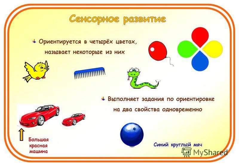 Ориентируется в четырёх цветах, называет некоторые из них Выполняет задания по ориентировке на два свойства одновременно Большая красная машина Синий круглый мяч