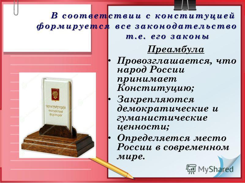 В соответствии с конституцией формируется все законодательство т.е. его законы В соответствии с конституцией формируется все законодательство т.е. его законы Преамбула Провозглашается, что народ России принимает Конституцию; Закрепляются демократичес
