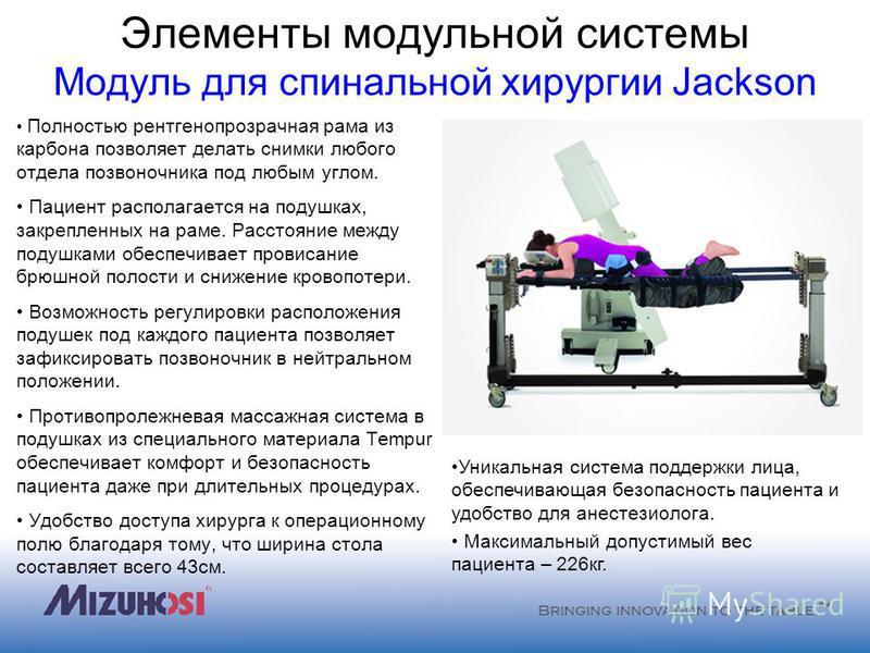 Элементы модульной системы Модуль для спинальной хирургии Jackson Полностью рентгенопрозрачная рама из карбона позволяет делать снимки любого отдела позвоночника под любым углом. Пациент располагается на подушках, закрепленных на раме. Расстояние меж