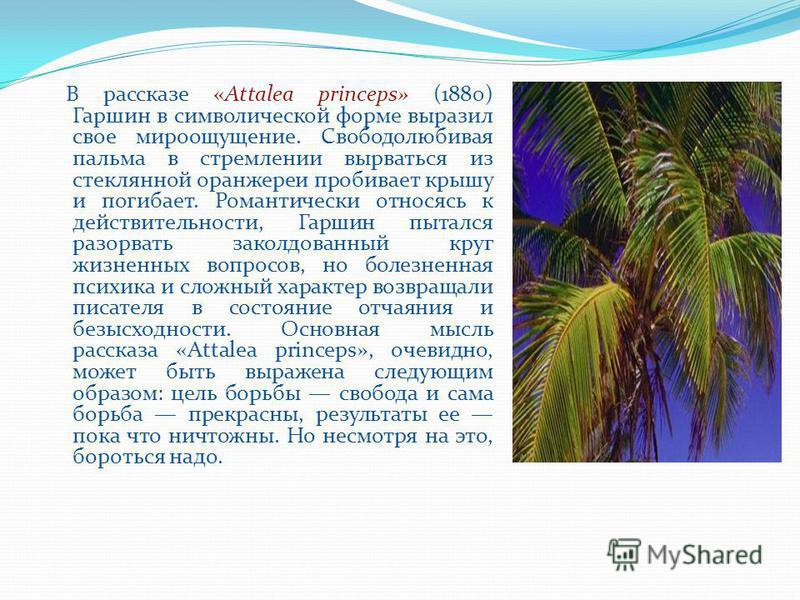 В рассказе «Attalea princeps» (1880) Гаршин в символической форме выразил свое мироощущение. Свободолюбивая пальма в стремлении вырваться из стеклянной оранжереи пробивает крышу и погибает. Романтически относясь к действительности, Гаршин пытался раз