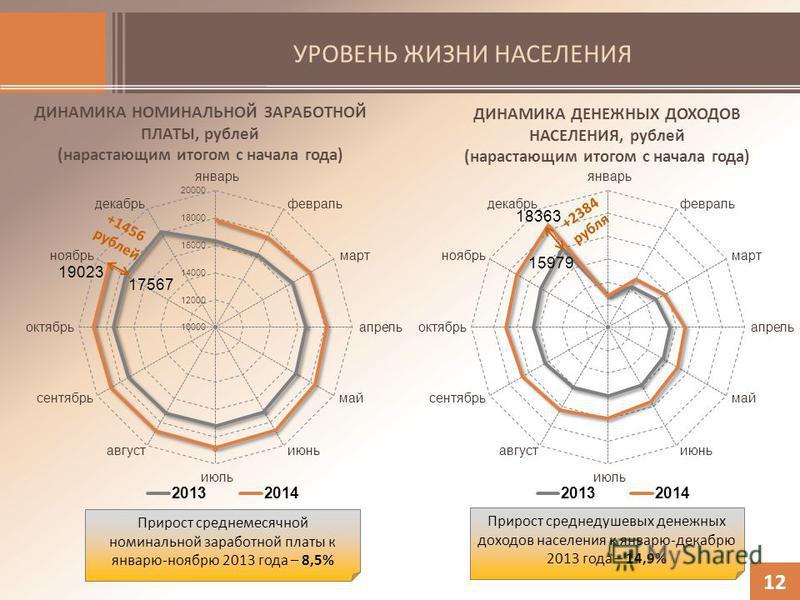 УРОВЕНЬ ЖИЗНИ НАСЕЛЕНИЯ 12 ДИНАМИКА НОМИНАЛЬНОЙ ЗАРАБОТНОЙ ПЛАТЫ, рублей (нарастающим итогом с начала года) ДИНАМИКА ДЕНЕЖНЫХ ДОХОДОВ НАСЕЛЕНИЯ, рублей (нарастающим итогом с начала года) +1456 рублей +2384 рубля Прирост среднемесячной номинальной зар