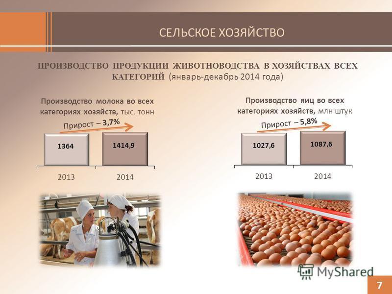 СЕЛЬСКОЕ ХОЗЯЙСТВО ПРОИЗВОДСТВО ПРОДУКЦИИ ЖИВОТНОВОДСТВА В ХОЗЯЙСТВАХ ВСЕХ КАТЕГОРИЙ (январь-декабрь 2014 года) 7 Производство молока во всех категориях хозяйств, тыс. тонн Производство яиц во всех категориях хозяйств, млн штук