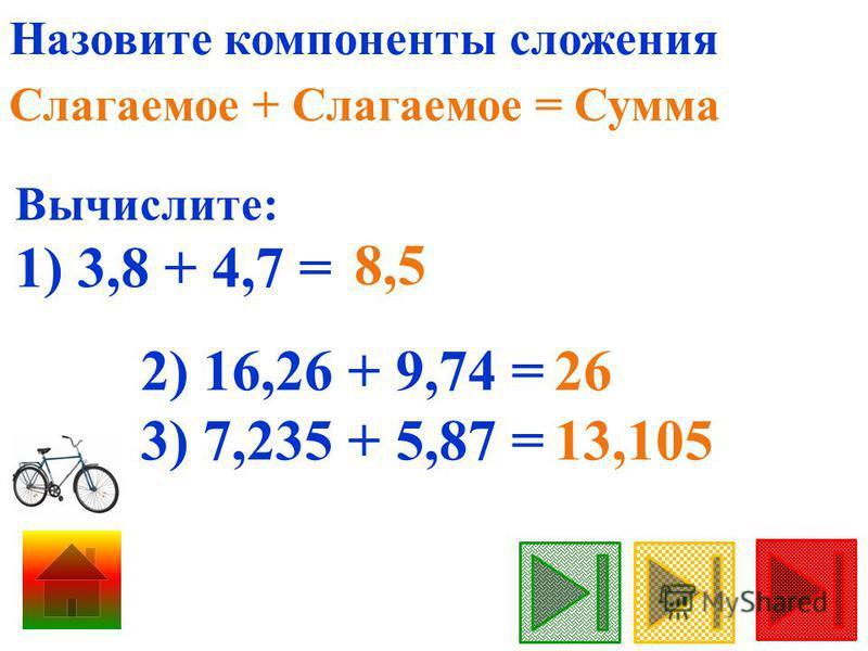 Назовите компоненты сложения Слагаемое + Слагаемое = Сумма Вычислите: 1) 3,8 + 4,7 = 8,5 2) 16,26 + 9,74 = 3) 7,235 + 5,87 = 26 13,105