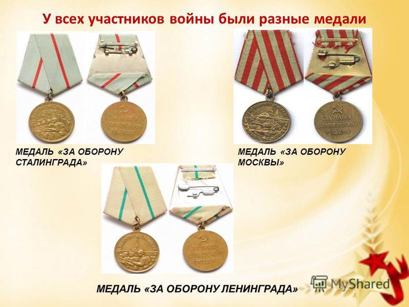 У всех участников войны были разные медали МЕДАЛЬ «ЗА ОБОРОНУ СТАЛИНГРАДА» МЕДАЛЬ «ЗА ОБОРОНУ МОСКВЫ»
