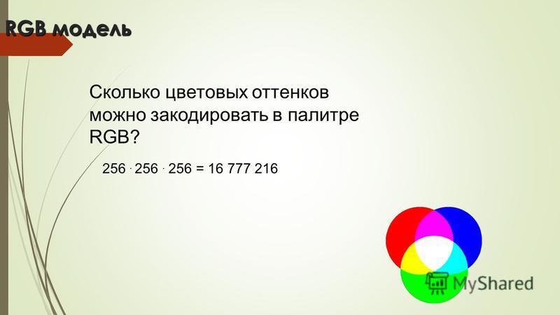 RGB модель Сколько цветовых оттенков можно закодировать в палитре RGB? 256. 256. 256 = 16 777 216