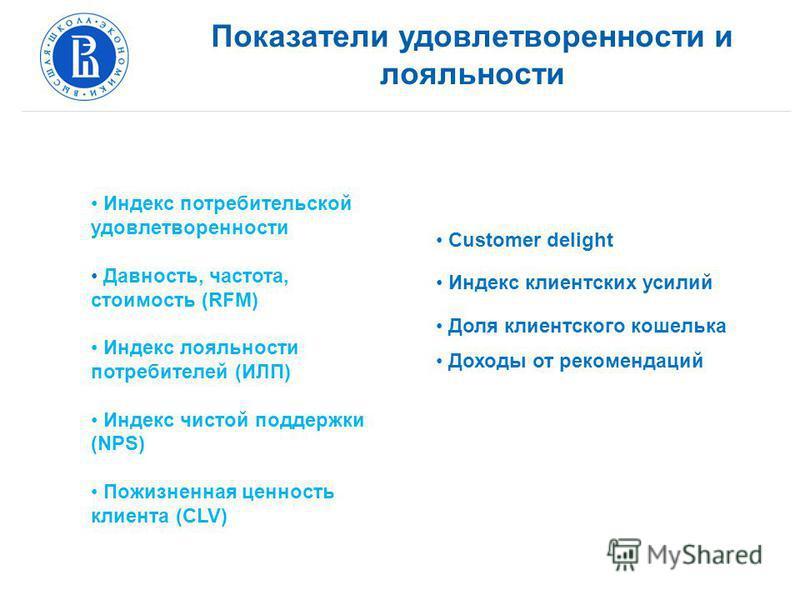 Показатели удовлетворенности и лояльности Индекс потребительской удовлетворенности Давность, частота, стоимость (RFM) Индекс лояльности потребителей (ИЛП) Индекс чистой поддержки (NPS) Пожизненная ценность клиента (CLV) Customer delight Индекс клиент