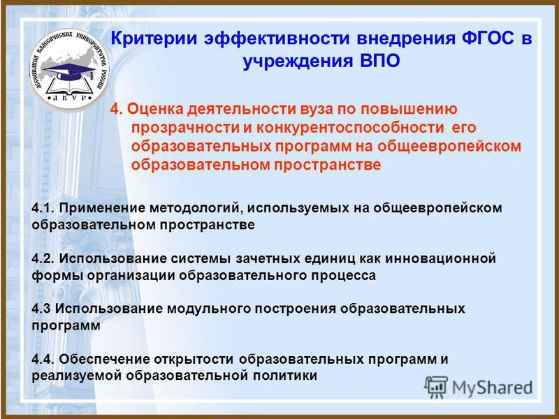 Критерии эффективности внедрения ФГОС в учреждения ВПО 4.1. Применение методологий, используемых на общеевропейском образовательном пространстве 4.2. Использование системы зачетных единиц как инновационной формы организации образовательного процесса