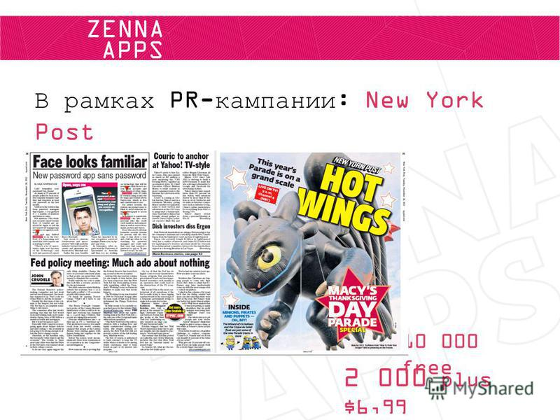 ZENNA APPS В рамках PR-кампании: New York Post 10 000 free 2 000 plus $6,99