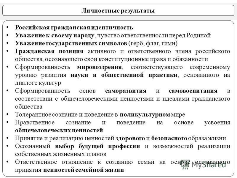 Личностные результаты Российская гражданская идентичность Уважение к своему народу, чувство ответственности перед Родиной Уважение государственных символов (герб, флаг, гимн) Гражданская позиция активного и ответственного члена российского общества,