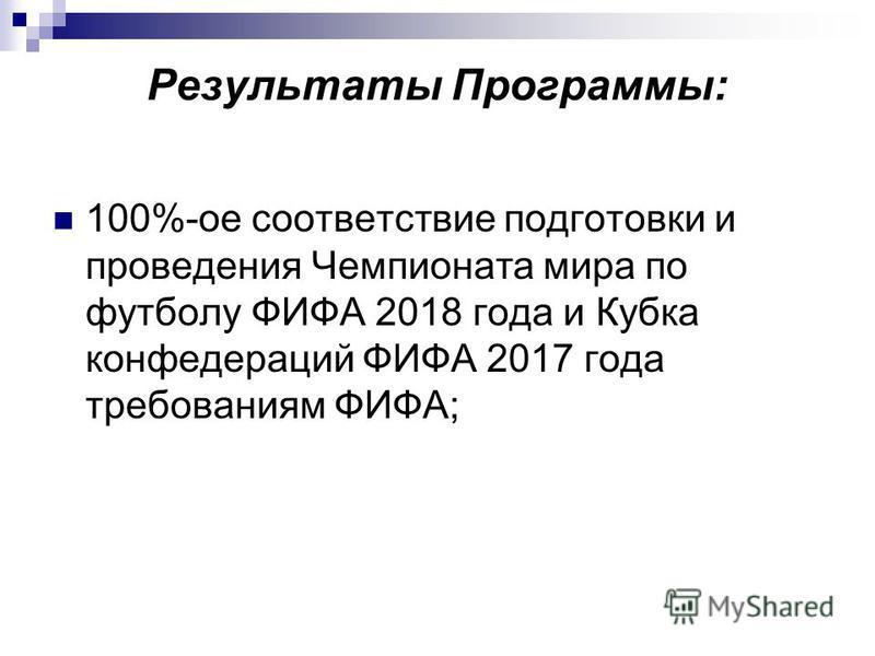 Результаты Программы: 100%-ое соответствие подготовки и проведения Чемпионата мира по футболу ФИФА 2018 года и Кубка конфедераций ФИФА 2017 года требованиям ФИФА;