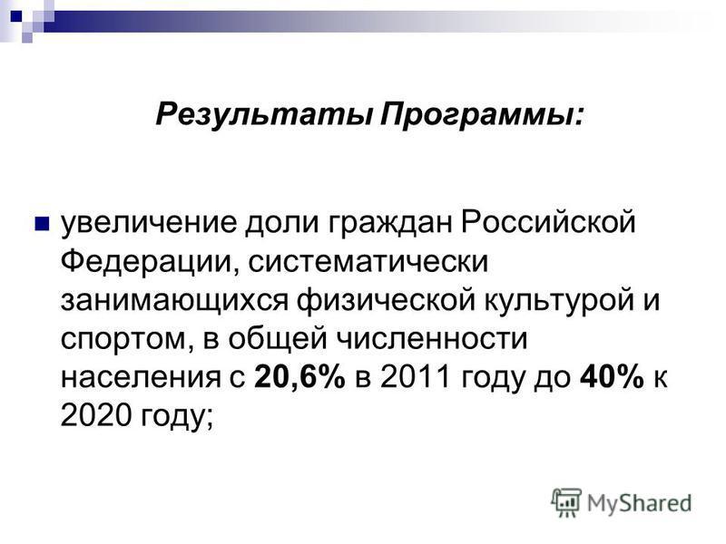 Результаты Программы: увеличение доли граждан Российской Федерации, систематически занимающихся физической культурой и спортом, в общей численности населения с 20,6% в 2011 году до 40% к 2020 году;