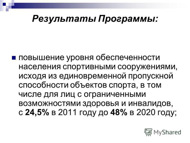 Результаты Программы: повышение уровня обеспеченности населения спортивными сооружениями, исходя из единовременной пропускной способности объектов спорта, в том числе для лиц с ограниченными возможностями здоровья и инвалидов, с 24,5% в 2011 году до