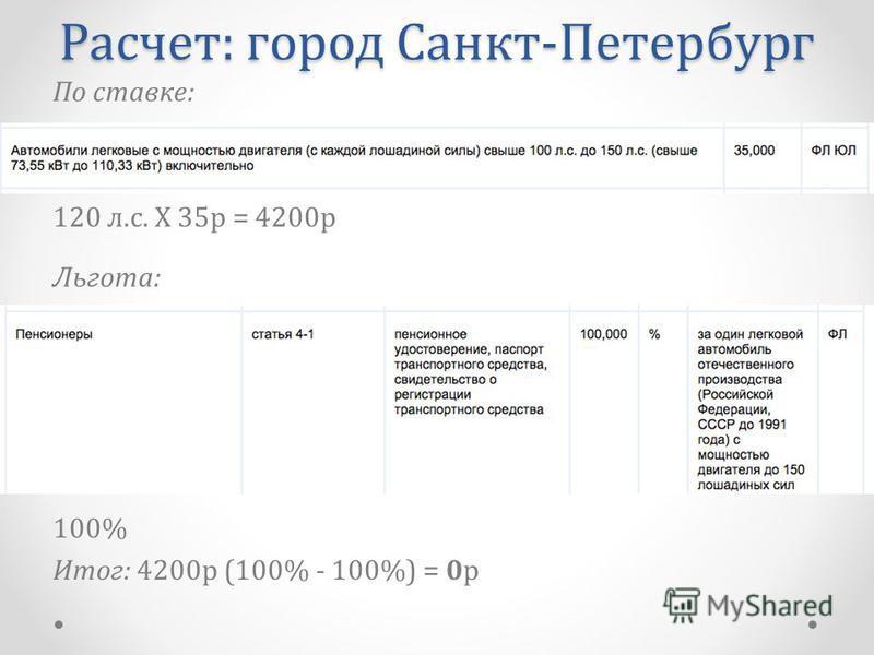 По ставке: 120 л.с. Х 35 р = 4200 р Льгота: 100% Итог: 4200 р (100% - 100%) = 0 р Расчет: город Санкт-Петербург