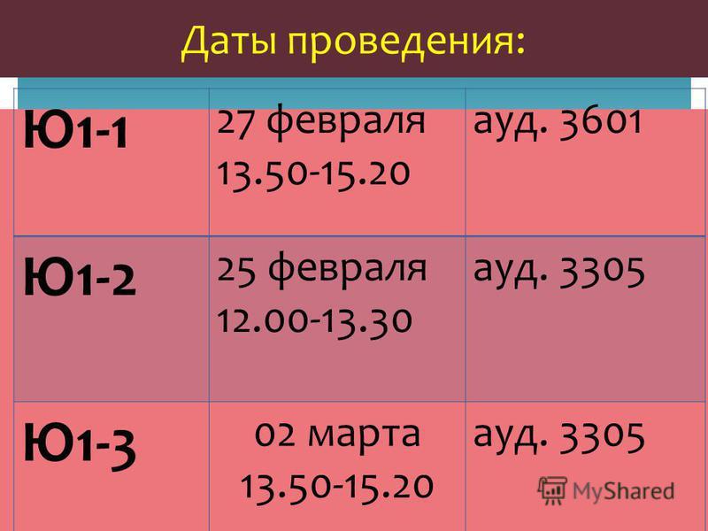 Даты проведения: Ю1-1 27 февраля 13.50-15.20 ауд. 3601 Ю1-2 25 февраля 12.00-13.30 ауд. 3305 Ю1-3 02 марта 13.50-15.20 ауд. 3305