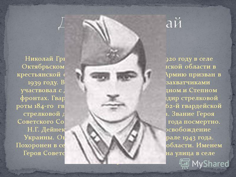 Николай Григорьевич Дейнеко родился в 1920 году в селе Октябрьском Октябрьского района Челябинской области в крестьянской семье. Украинец. В Советскую Армию призван в 1939 году. В боях с немецко-фашистскими захватчиками участвовал с декабря 1942 года