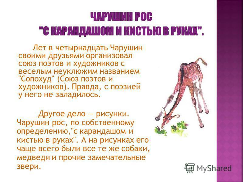 Лет в четырнадцать Чарушин своими друзьями организовал союз поэтов и художников с веселым неуклюжим названием