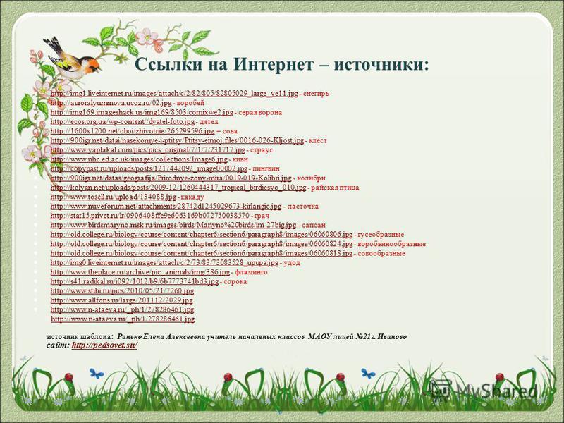 Ссылки на Интернет – источники: http://img1.liveinternet.ru/images/attach/c/2/82/805/82805029_large_ye11. jpg - снегирь http://img1.liveinternet.ru/images/attach/c/2/82/805/82805029_large_ye11. jpg http://auroralyummova.ucoz.ru/02. jpg - воробей http