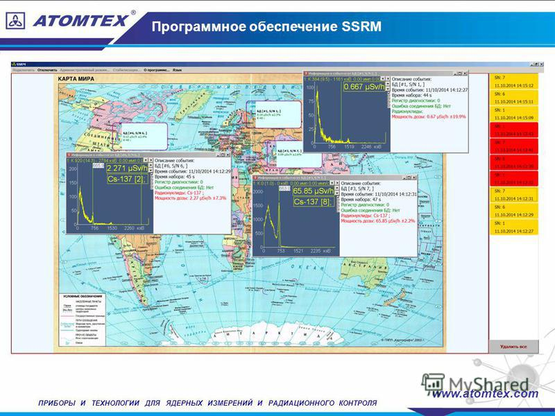Программное обеспечение SSRM www.atomtex.com ПРИБОРЫ И ТЕХНОЛОГИИ ДЛЯ ЯДЕРНЫХ ИЗМЕРЕНИЙ И РАДИАЦИОННОГО КОНТРОЛЯ