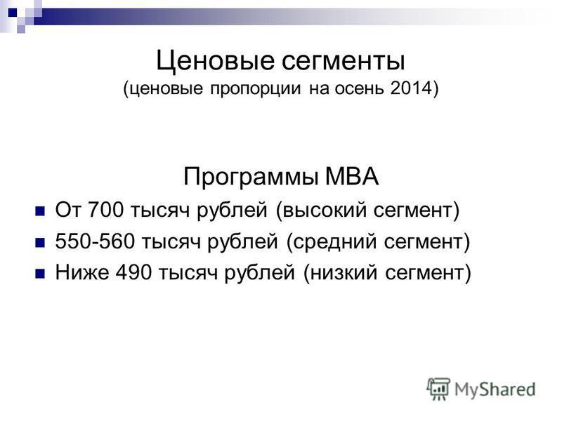 Ценовые сегменты (ценовые пропорции на осень 2014) Программы МВА От 700 тысяч рублей (высокий сегмент) 550-560 тысяч рублей (средний сегмент) Ниже 490 тысяч рублей (низкий сегмент)