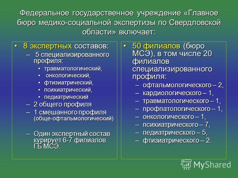 Федеральное государственное учреждение «Главное бюро медико-социальной экспертизы по Свердловской области» включает: 8 экспертных составов:8 экспертных составов: – 5 специализированного профиля: травматологический,травматологический, онкологический,