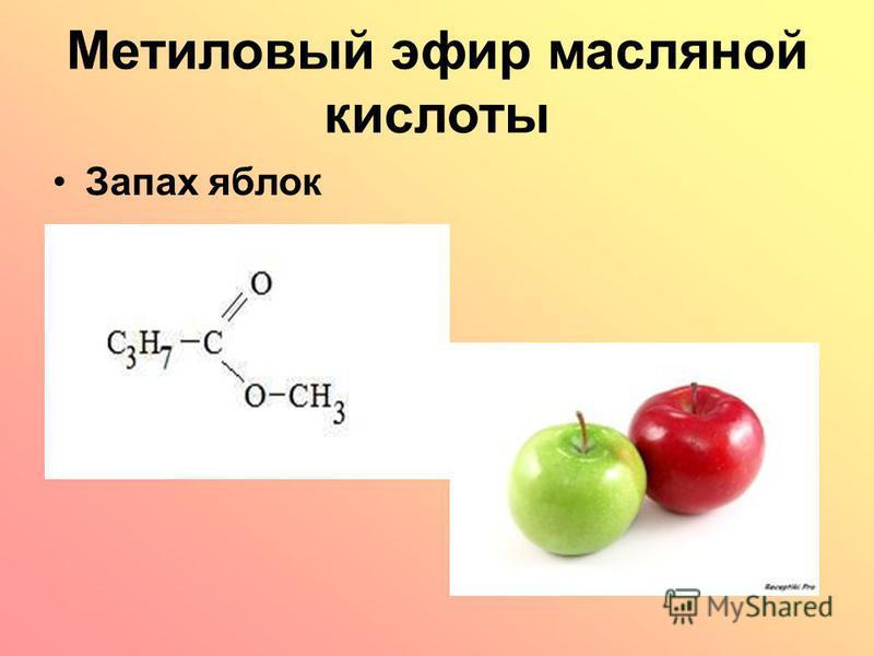 Метиловый эфир масляной кислоты Запах яблок
