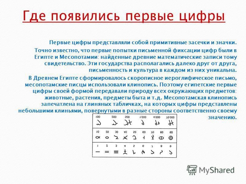 Первые цифры представляли собой примитивные засечки и значки. Точно известно, что первые попытки письменной фиксации цифр были в Египте и Месопотамии: найденные древние математические записи тому свидетельство. Эти государства располагались далеко др