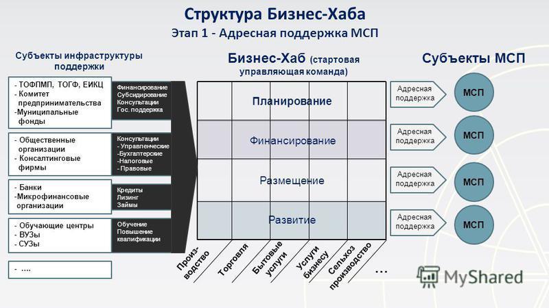 Структура Бизнес-Хаба Этап 1 - Адресная поддержка МСП Планирование Финансирование Размещение Развитие Бизнес-Хаб (стартовая управляющая команда) - ТОФПМП, ТОГФ, ЕИКЦ - Комитет предпринимательства -Муниципальные фонды - Общественные организации - Конс