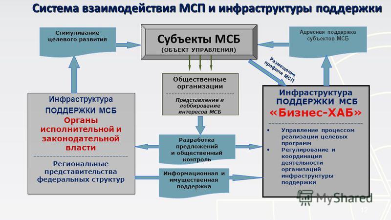 12 Инфраструктура ПОДДЕРЖКИ МСБ Органы исполнительной и законодательной власти ------------------------------ Региональные представительства федеральных структур Инфраструктура ПОДДЕРЖКИ МСБ «Бизнес-ХАБ» ------------------------------ Управление проц