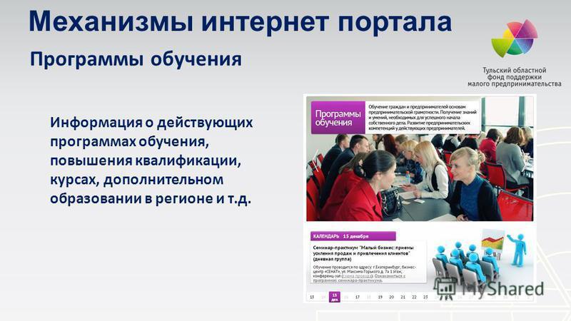 Программы обучения Информация о действующих программах обучения, повышения квалификации, курсах, дополнительном образовании в регионе и т.д. Механизмы интернет портала