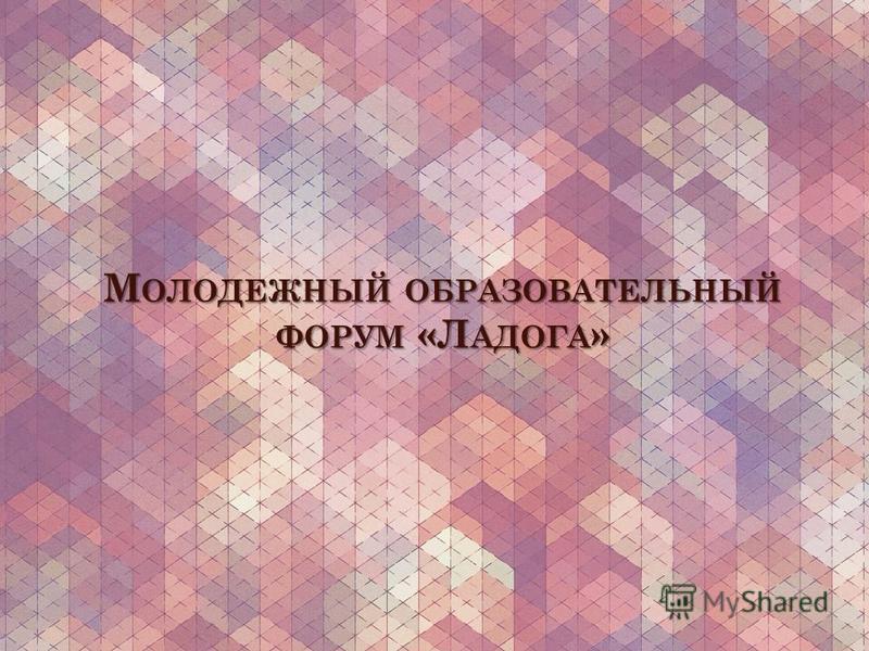 М ОЛОДЕЖНЫЙ ОБРАЗОВАТЕЛЬНЫЙ ФОРУМ «Л АДОГА »