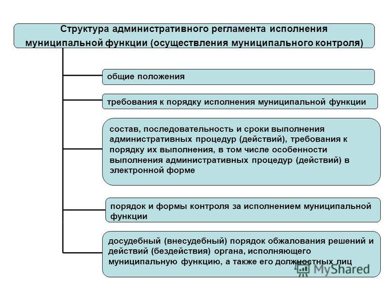 Структура административного регламента исполнения муниципальной функции (осуществления муниципального контроля) общие положения состав, последовательность и сроки выполнения административных процедур (действий), требования к порядку их выполнения, в