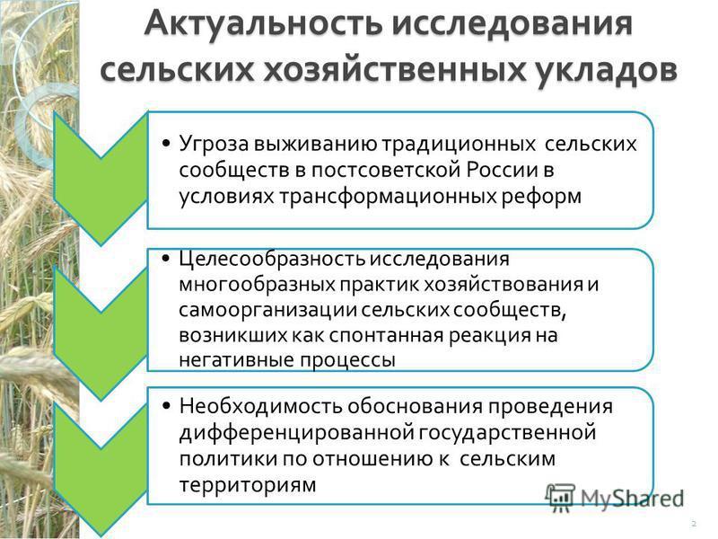 Актуальность исследования сельских хозяйственных укладов Угроза выживанию традиционных сельских сообществ в постсоветской России в условиях трансформационных реформ Целесообразность исследования многообразных практик хозяйствования и самоорганизации
