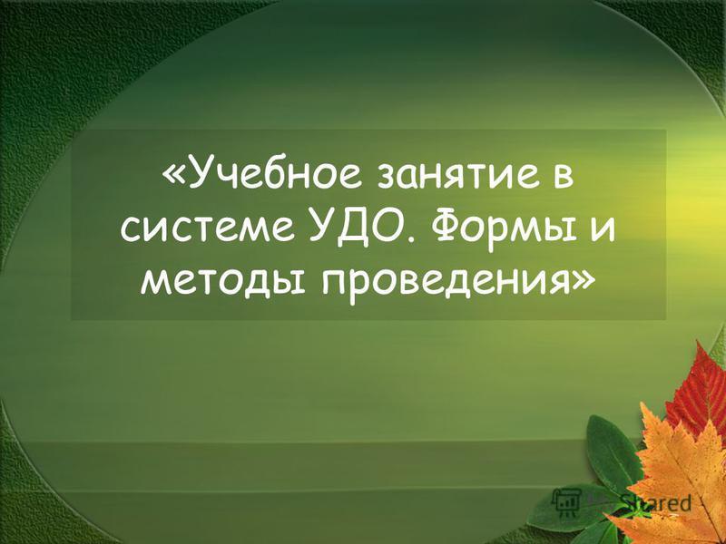 «Учебное занятие в системе УДО. Формы и методы проведения»