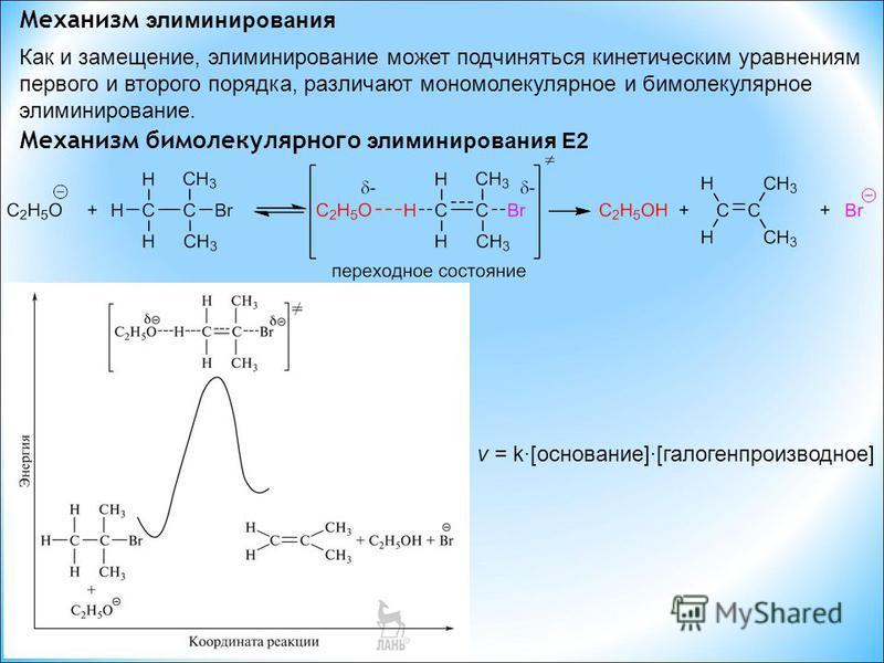 Механизм элиминирования Как и замещение, элиминирование может подчиняться кинетическим уравнениям первого и второго порядка, различают мономолекулярное и бимолекулярное элиминирование. Механизм бимолекулярного элиминирования E2 v = k·[основание]·[гал
