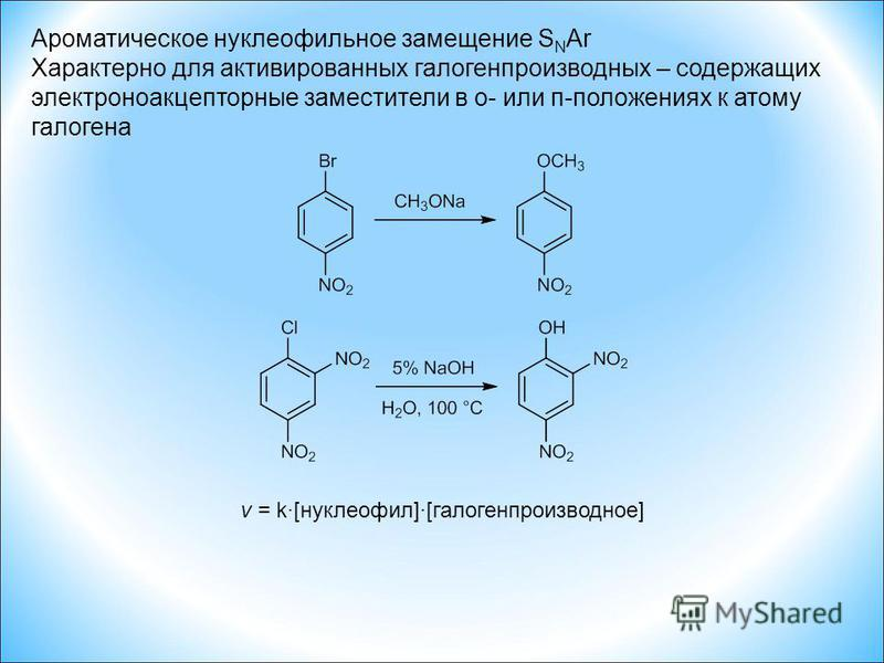 Ароматическое нуклеофильное замещение S N Ar Характерно для активированных галогенпроизводных – содержащих электроноакцепторные заместители в о- или п-положениях к атому галогена v = k·[нуклеофил]·[галогенпроизводное]