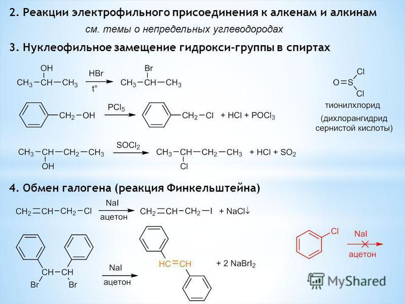 2. Реакции электрофильного присоединения к алкенам и алкинам см. темы о непредельных углеводородах 3. Нуклеофильное замещение гидрокси-группы в спиртах 4. Обмен галогена (реакция Финкельштейна)