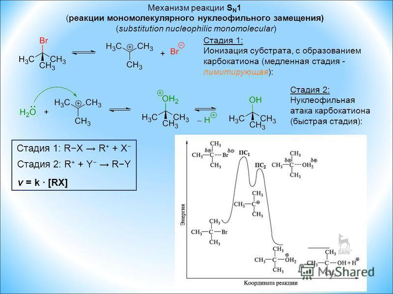 Механизм реакции S N 1 (реакции мономолекулярного нуклеофильного замещения) (substitution nucleophilic monomolecular) Стадия 1: Ионизация субстрата, с образованием карбкатиона (медленная стадия - лимитирующая): Стадия 2: Нуклеофильная атака карбкатио