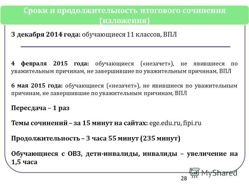 3 декабря 2014 года: обучающиеся 11 классов, ВПЛ 4 февраля 2015 года: обучающиеся («незачет»), не явившиеся по уважительным причинам, не завершившие по уважительным причинам, ВПЛ 6 мая 2015 года: обучающиеся («незачет»), не явившиеся по уважительным