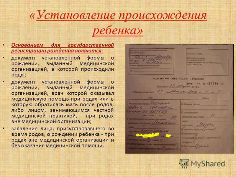 Основанием для государственной регистрации рождения являются: документ установленной формы о рождении, выданный медицинской организацией, в которой происходили роды; документ установленной формы о рождении, выданный медицинской организацией, врач кот