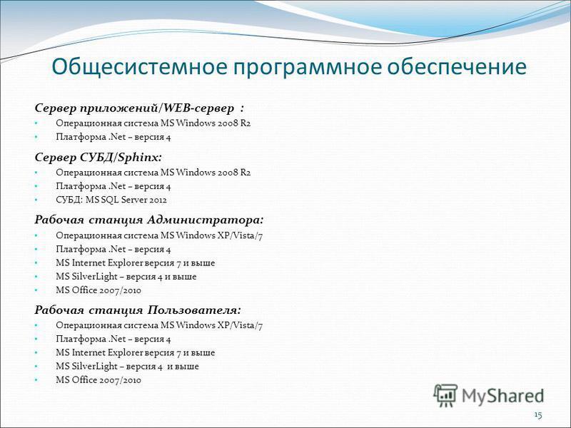 15 Общесистемное программное обеспечение Сервер приложений/WEB-сервер : Операционная система MS Windows 2008 R2 Платформа.Net – версия 4 Сервер СУБД/Sphinx: Операционная система MS Windows 2008 R2 Платформа.Net – версия 4 СУБД: MS SQL Server 2012 Раб