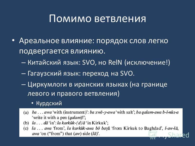 Помимо ветвления Ареальное влияние: порядок слов легко подвергается влиянию. – Китайский язык: SVO, но RelN (исключение!) – Гагаузский язык: переход на SVO. – Циркумлоги в иранских языках (на границе левого и правого ветвления) Курдский