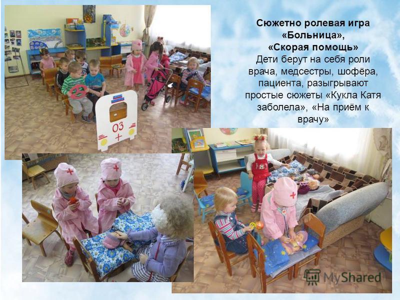 Сюжетно ролевая игра «Больница», «Скорая помощь» Дети берут на себя роли врача, медсестры, шофёра, пациента, разыгрывают простые сюжеты «Кукла Катя заболела», «На приём к врачу»