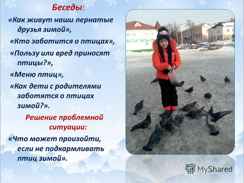 Беседы: «Как живут наши пернатые друзья зимой», «Кто заботится о птицах», «Пользу или вред приносят птицы?», «Меню птиц», «Как дети с родителями заботятся о птицах зимой?». Решение проблемной ситуации: «Что может произойти, если не подкармливать птиц