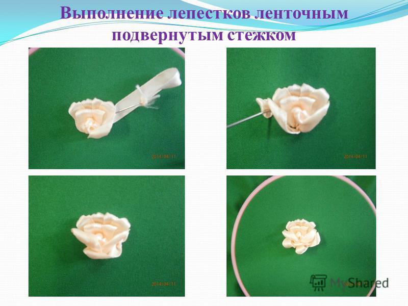 Выполнение серединки розы - французским узелком